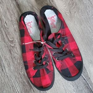 JellyPop Buffalo Plaid Red and Black Sneakers